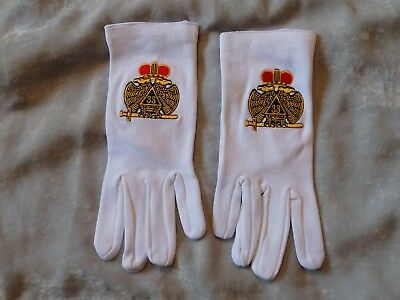 33rd Degree Double Eagle Masonic Embroidered White Gloves Scottish Rites NEW!