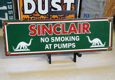 DINO SINCLAIR GASOLINE NO SMOKING porcelain sign gas pump plate vintage H-C oil