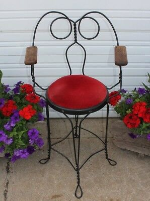 Antique Tall Shoe Shine Arm Chair Soda Fountain Saloon Bar Stool Wrought Iron