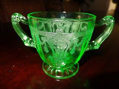 """Cameo Ballerina Green Footed Sugar Bowl 3 1/4"""" Hocking Glass EXCELLENT COND!"""