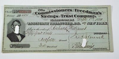 1880 Freedman's Savings & Trust Bank Check - Wash DC & Asst Treasurer NY - 82647