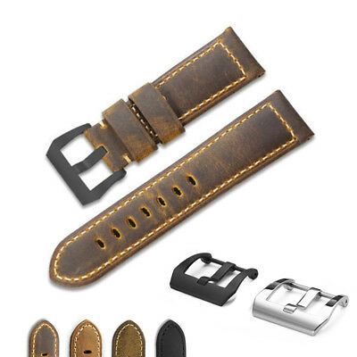 22MM 24MM Genuine Vintage Asso Calf Leather Wrist Watch Band Strap For Panerai