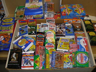 Huge LOT Vintage 1000 Cards in UNOPENED packs 80's 90's 00's all BB FB HKY BSKT