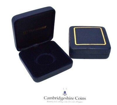 WESTMINSTER 30mm BLUE LEATHER COIN STORAGE BOX ONLY