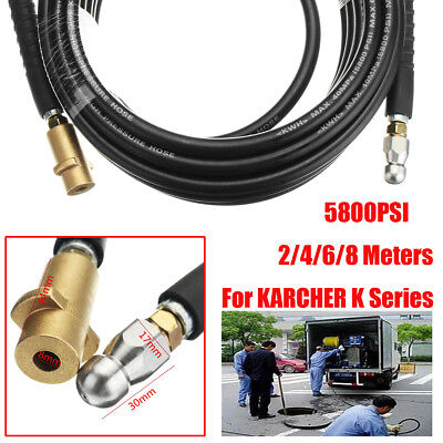 2/4/6/8M Pressure Washer Drain Sewer Cleaning Hose + Jetter Nozzle For Karcher K