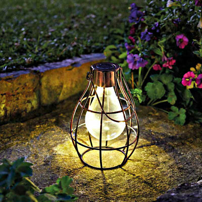 Solar Powered Hanging Copper LED Lantern Firefly Lights Metal Cage Garden Lights