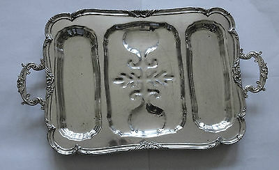 "Large 25"" Antique Silver Plated Meat Tray"