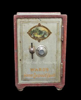 Antique 1800's WARDS Cast Iron Miniature Home Security Safe Deposit Bank Vault
