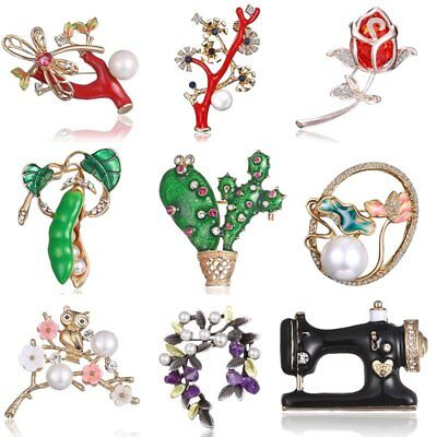 Fashion Spring Plants Flower Crystal Pearl Cactus Brooch Pin Women Jewelry Gift