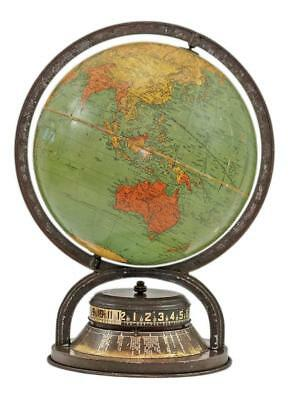 "VINTAGE 1940's 10"" Standard World Globe Atlas Map by Replogle with windup Clock"