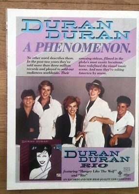 DURAN DURAN Rio US magazine ADVERT/Poster/Clipping 11x8 inches
