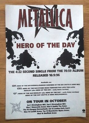 METALLICA Hero Of The Day magazine ADVERT/Poster/Clipping 11x8 inches