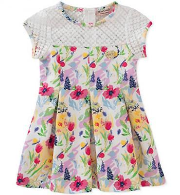 Juicy Couture Big Girls White & Multi Color Floral Dress Size 7 8/10 12 $75
