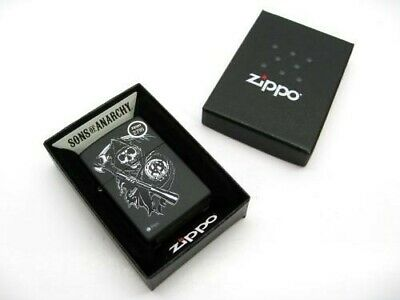 ZIPPO Black Matte Sons of Anarchy GRIM REAPER SAMCRO Windproof Lighter! 28504