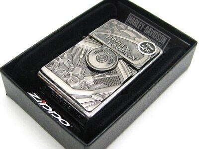 ZIPPO Full Size Street Chrome HARLEY DAVIDSON Windproof Lighter w/ Emblem! 29266