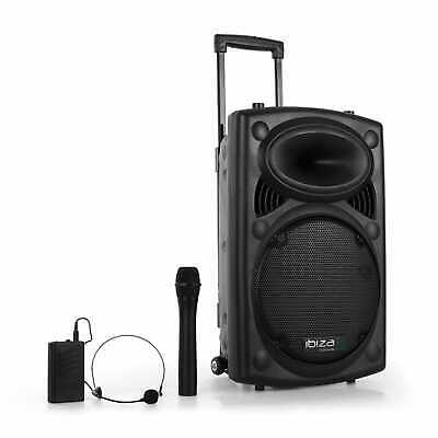 MOBILE DJ PA KARAOKE PARTY SOUND MUSIK ANLAGE BOX BLUETOOTH MP3 USB SD 2x MIKRO