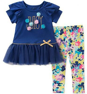 Juicy Couture Big Girls Blue 2pc Legging Set Size 7 8/10 12 $75