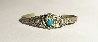 Vintage Bell Trading Post Nickel Silver Turquoise Small Bracelet L176