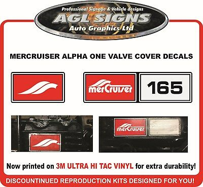 Pre Alpha One  2 piece 165 Valve Cover Decals Mercruiser reproductions