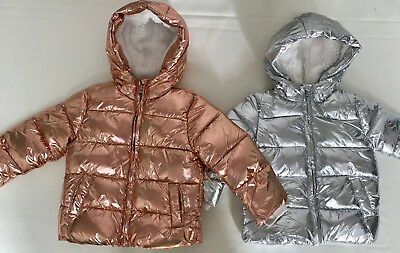 Ex Chain Store Girl Metallic Shiny Puffer Winter Coat Jacket Fur Lining Quilted