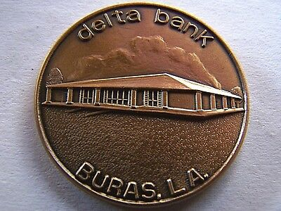 1982 Delta Bank Grand Opening Antique Bronze Souvenir Doubloon