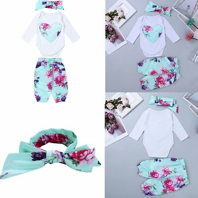 Newborn Toddler Baby Girl Clothes Romper Bodysuit+Headband Kids Pants Outfit