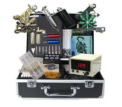 new Complete tattoo machine kit power supplier with body piercing tools set