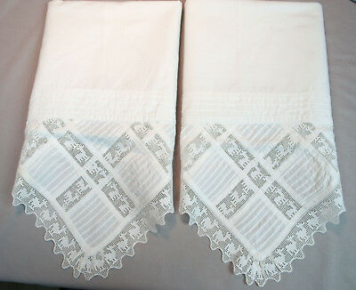 Antique Pillowcases With Pin Tucks And Figural Animals In Filet Lace Edging