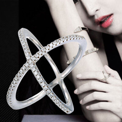 Criss Cross CZ Crystal Cocktail Silver Ring Fashion Women Rings Jewelry Gift