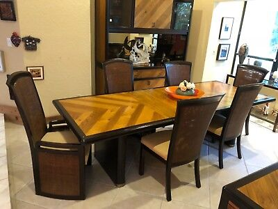 Hibriten Bernhardt Dining Table & 6 Chairs China Hutch & Buffet Set MCM Style
