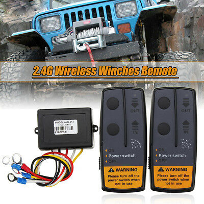 2.4G Digital Wireless Winches Remote Control Recovery Kit For Jeep SUV Truck Car