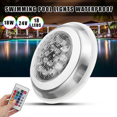18W 24V LED RGB Multi-Color Underwater Swimming Pool Bright Light Remote Control