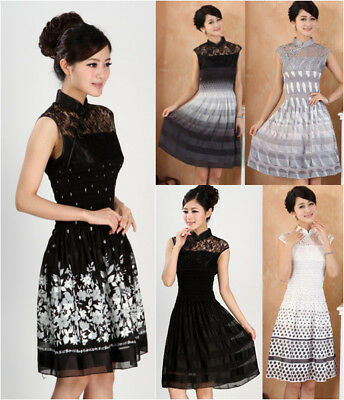 Woman stitching short-sleeved long section cheongsam fashion  evening dress AL30