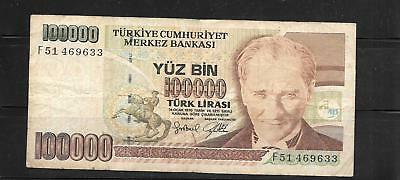 TURKEY #206 1997 100000 LIRA good USED BANKNOTE PAPER MONEY CURRENCY BILL NOTE