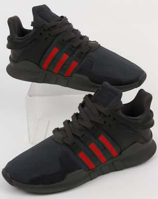211267141488 adidas EQT Support ADV Trainers in Black   Scarlet - Equipment Advance SALE  UK5