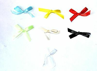 100 COLOURED SATIN RIBBON CARD JEWELLERY SEWING CRAFT WEDDING BOWS - 7mm
