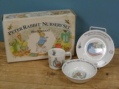 Vintage Wedgewood Beatrix Potter Peter Rabbit Nursery Set Cup Plate Bowl Boxed