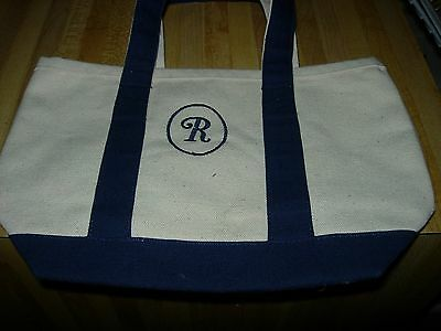 "Two Canvas Tote Bags--Embroidered ""r"" & Embroidered Flowers--#p11A"