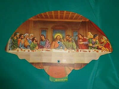 Vintage Jesus The Last Supper Religious Picture Folding Hand Fan