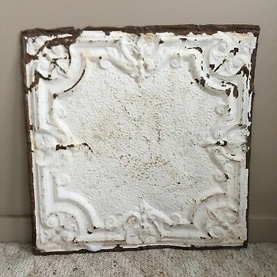 "1890's 24"" x 24"" Antique Reclaimed Tin Ceiling Tile  White 112-18 Anniversary"