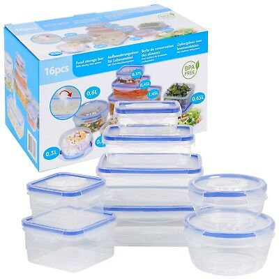 Set Of 8 Food Storage Clip Seal Lock Lids Storage Containers Boxes Plastic Clear
