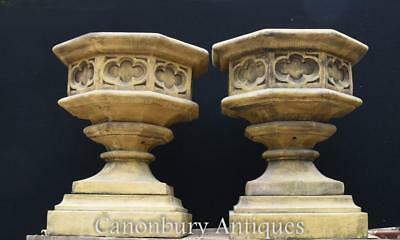 Pair English Gothic Stone Octagonal Garden Urns on Pedestal Base Architectural