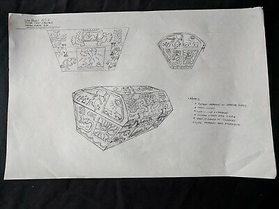 SeaQuest DSV Hand Drawn Production Background INDIAN BURIAL BOX  Mark Simon #MS
