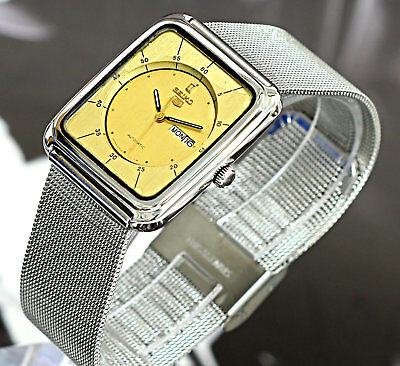 Vintage! Slim/Thin Case Japan Made Seiko 5 Square Automatic 17Jewels Men's Watch