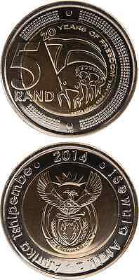 SÜDAFRIKA/SOUTH AFRICA 5 Rand 2014 UNC '20 Years of Freedom' Bimetall