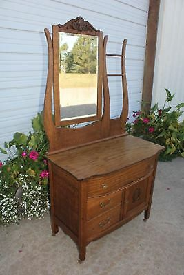 Antique Oak Hotel Washstand Commode Dresser Beveled Mirror 2 Towel Bars Carving