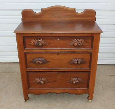 Victorian Walnut Wood Fruit Pull Washstand w Key Dresser Commode Excellent Cond