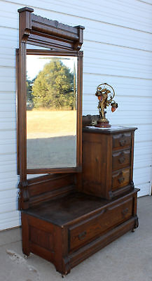 Antique Carved East Lake Deep Well Dresser Pivoting Long Dressing Beveled Mirror