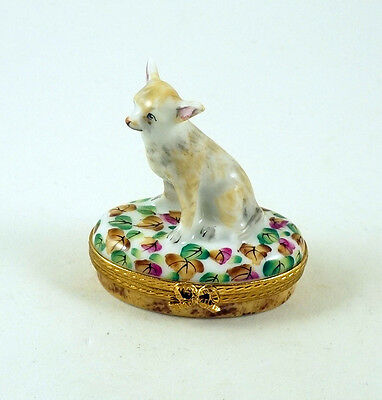 New French Limoges Trinket Box Cute Chihuahua Dog Puppy On Colorful Leaves
