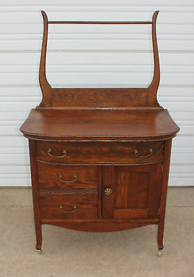 Quartersawn Oak Bow Front Washstand Commode Towel Bar Antique Original Vintage